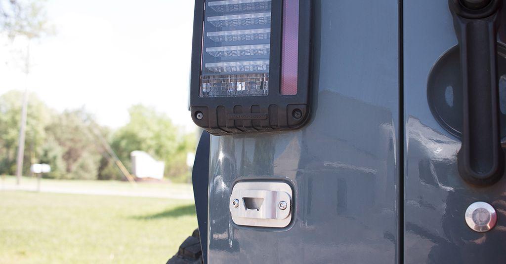 license plate delete bottle opener jeep wrangler 07 17. Black Bedroom Furniture Sets. Home Design Ideas