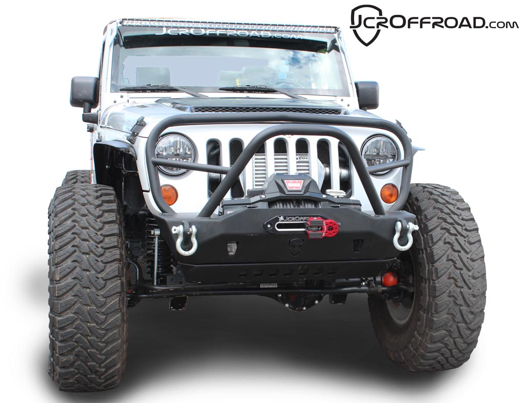 jcroffroad deluxe mauler stubby front winch bumper jk. Black Bedroom Furniture Sets. Home Design Ideas